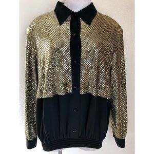 Vintage 90's Gold Sequins Button Down Blouse Large